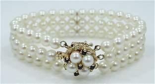 14K 6mm AAA Akoya Pearl Bracelet