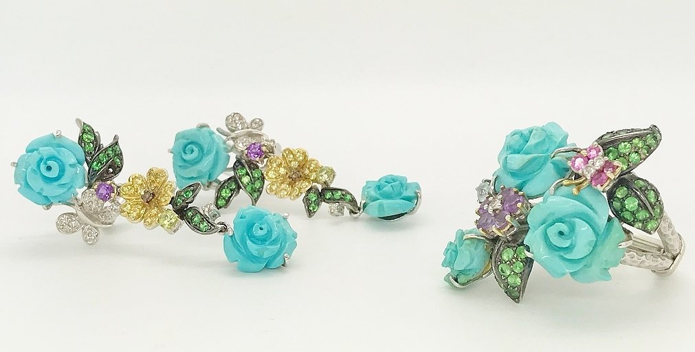 Russian 18K, Gemstone & Turquoise Ring/Earrings
