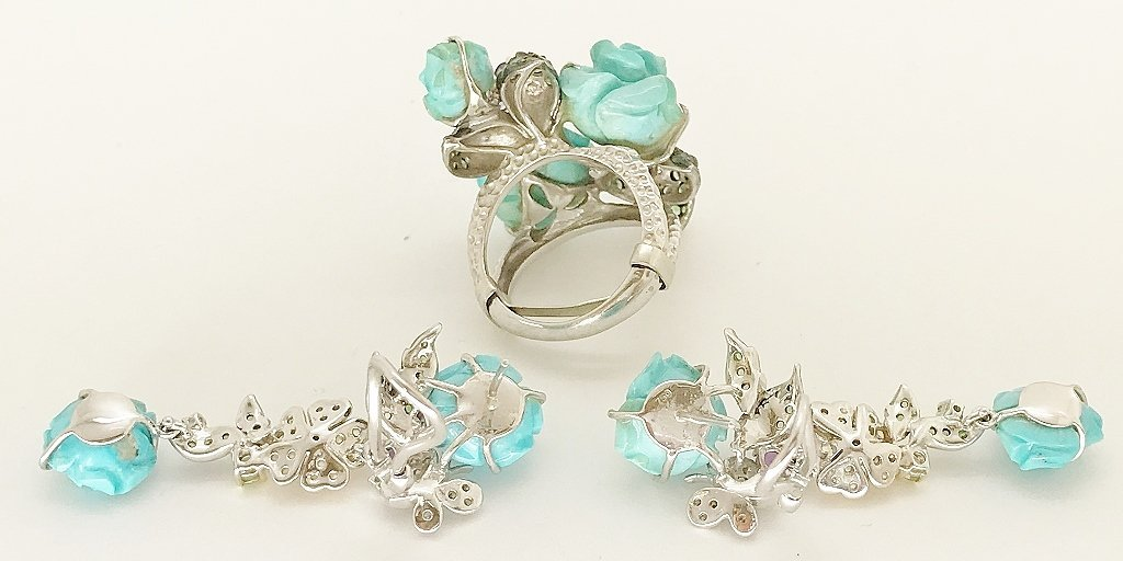 Russian 18K, Gemstone & Turquoise Ring/Earrings - 4