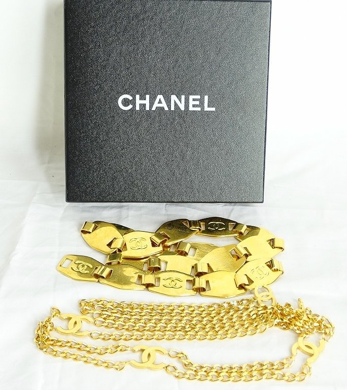 "Chanel Gold Tone Belt #97A W/""CC"" Logo & Other"
