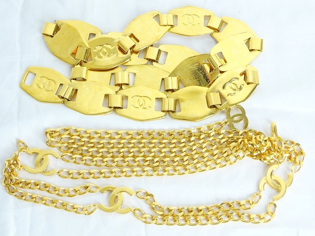 "Chanel Gold Tone Belt #97A W/""CC"" Logo & Other - 2"