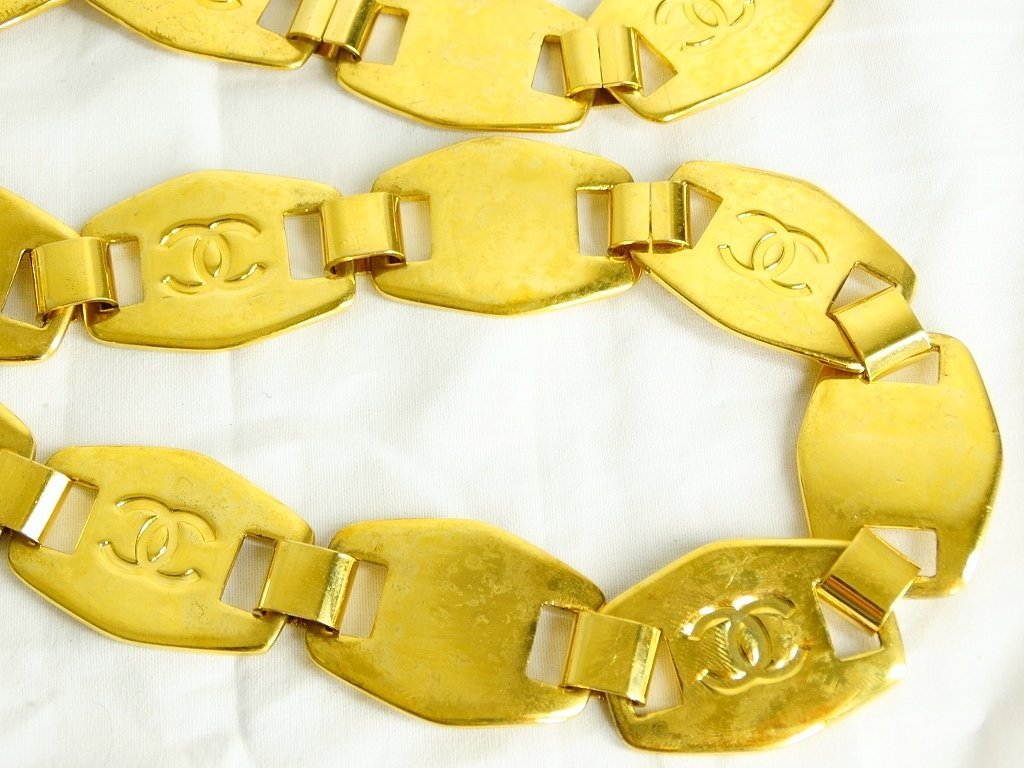 "Chanel Gold Tone Belt #97A W/""CC"" Logo & Other - 7"