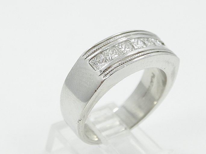 1.25CTW VS/F-G Diamond & Platinum Men's Ring - 3