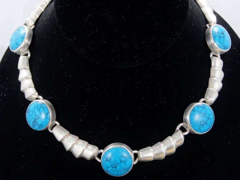 18mm Morenci Turquoise & .925 Necklace *Signed*