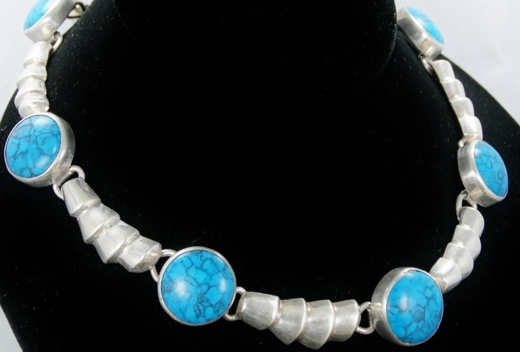 18mm Morenci Turquoise & .925 Necklace *Signed* - 4