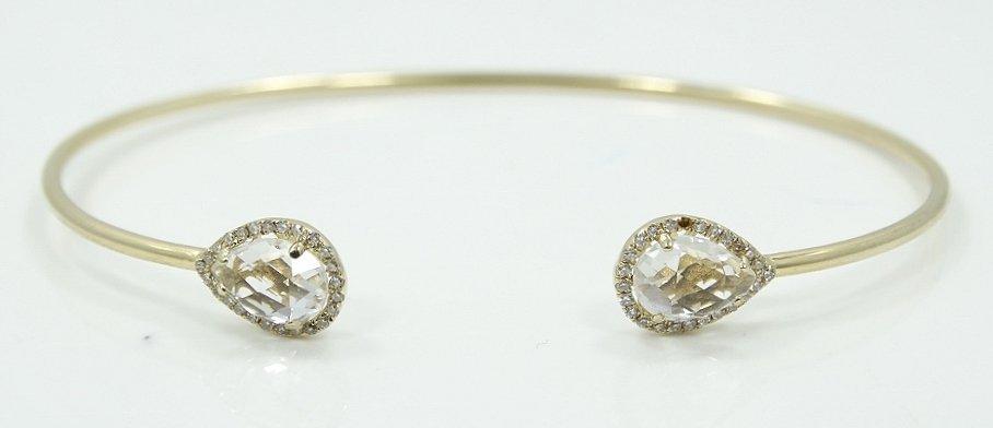 14K & 2ctw Topaz Upside Cuff Bracelet W/Diamonds