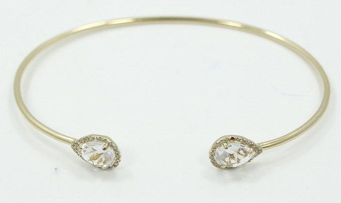 14K & 2ctw Topaz Upside Cuff Bracelet W/Diamonds - 2