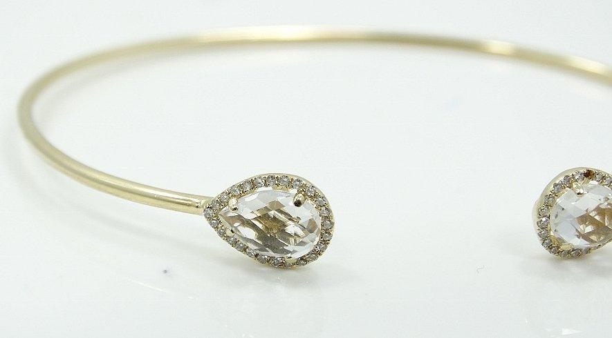 14K & 2ctw Topaz Upside Cuff Bracelet W/Diamonds - 3