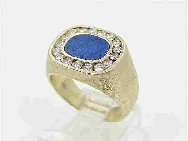 14K Lapis Slate & .85ctw SI1/G-H Diamond Ring