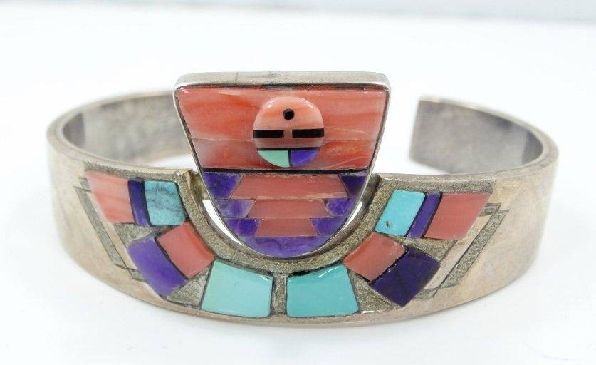 Navajo Solid .925 Silver 3-D Cuff Bracelet