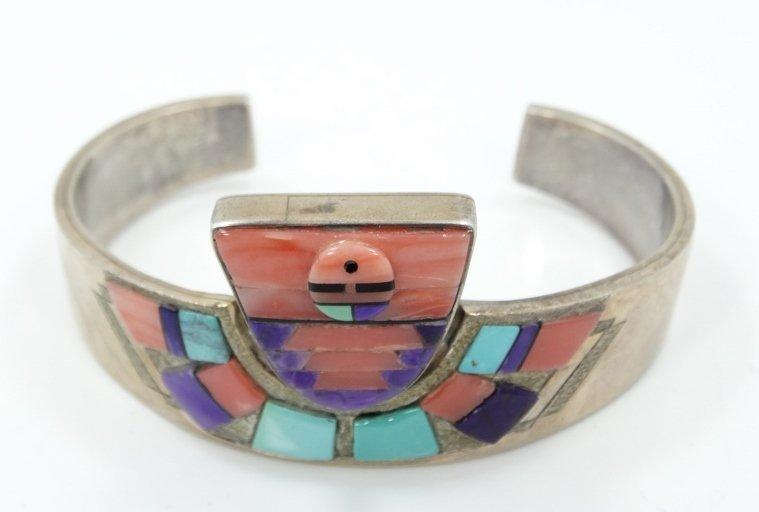 Navajo Solid .925 Silver 3-D Cuff Bracelet - 2