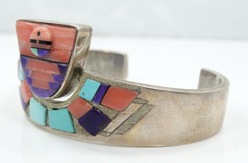 Navajo Solid .925 Silver 3-D Cuff Bracelet - 3
