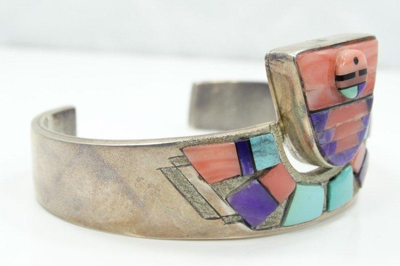 Navajo Solid .925 Silver 3-D Cuff Bracelet - 4