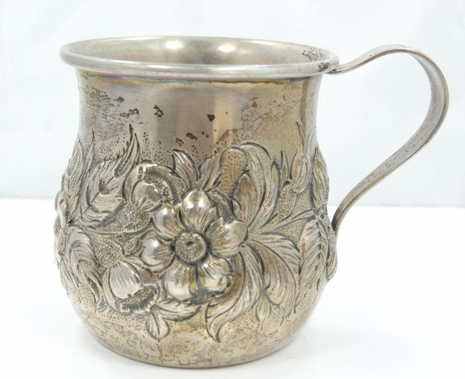 Kirk & Sons Sterling Cup W/Repousse Floral Motif