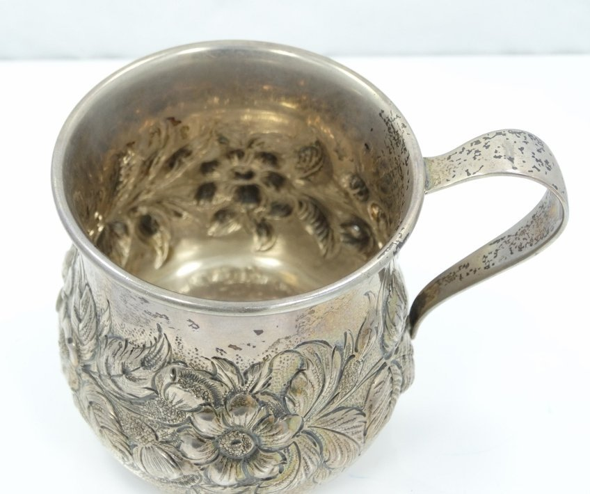 Kirk & Sons Sterling Cup W/Repousse Floral Motif - 2