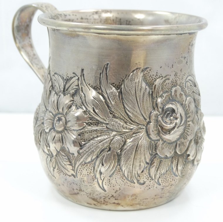 Kirk & Sons Sterling Cup W/Repousse Floral Motif - 3