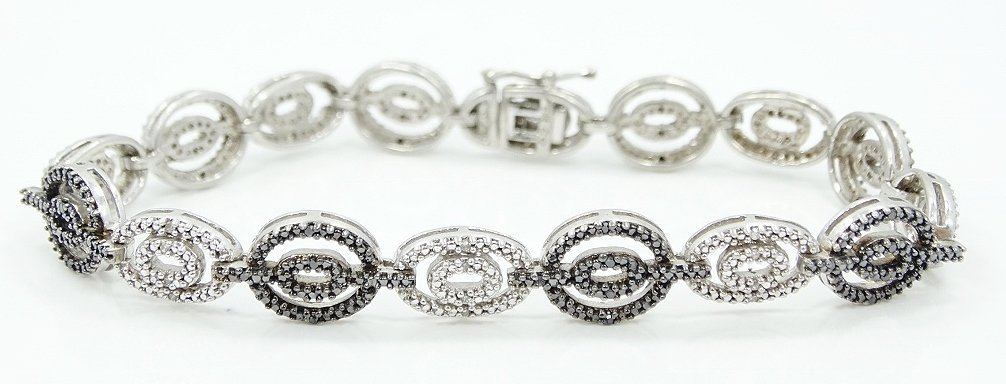 3ctw Black & White Diamond & .925 Silver Bracelet