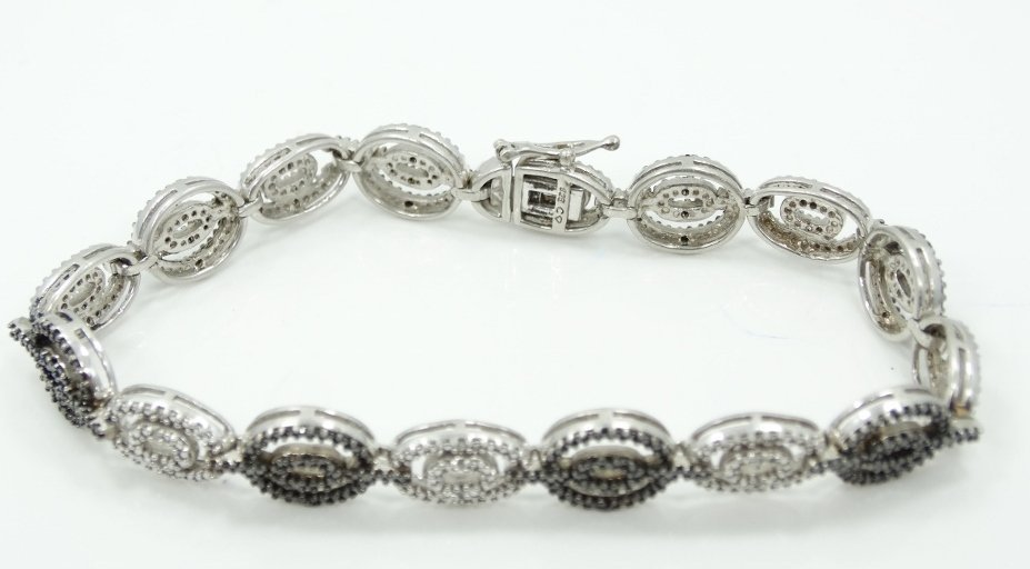 3ctw Black & White Diamond & .925 Silver Bracelet - 2
