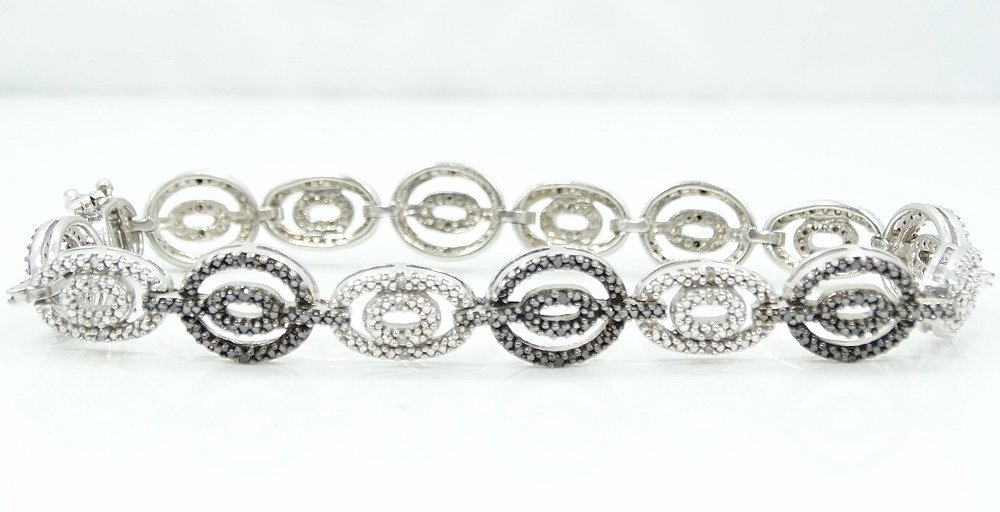 3ctw Black & White Diamond & .925 Silver Bracelet - 3