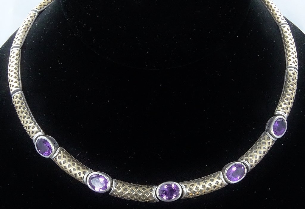 """6ctw Amethyst 14K/Sterling 18"""" Necklace *Signed*"""