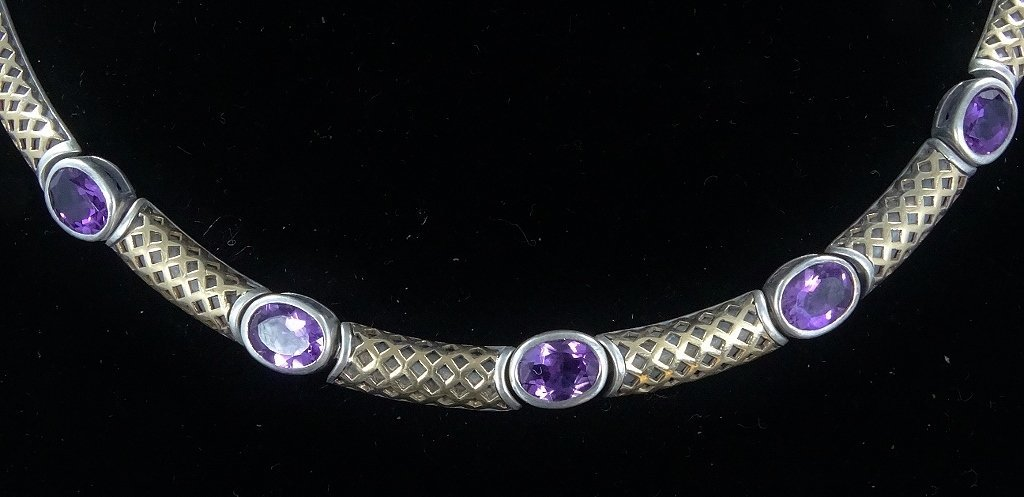 """6ctw Amethyst 14K/Sterling 18"""" Necklace *Signed* - 2"""