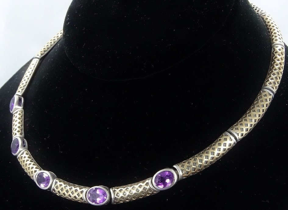 """6ctw Amethyst 14K/Sterling 18"""" Necklace *Signed* - 3"""