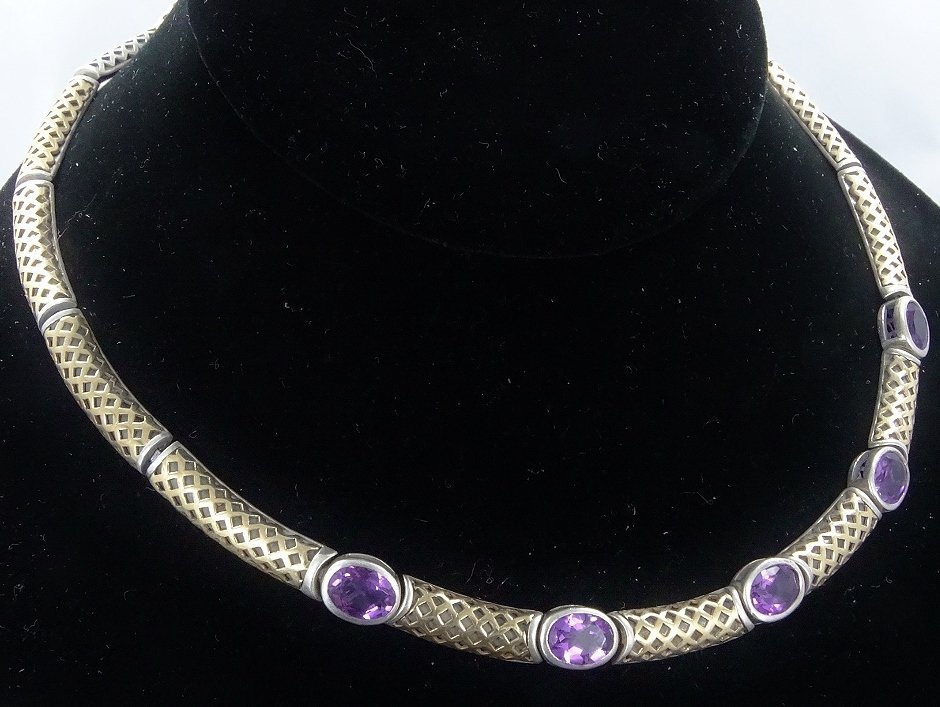 """6ctw Amethyst 14K/Sterling 18"""" Necklace *Signed* - 4"""