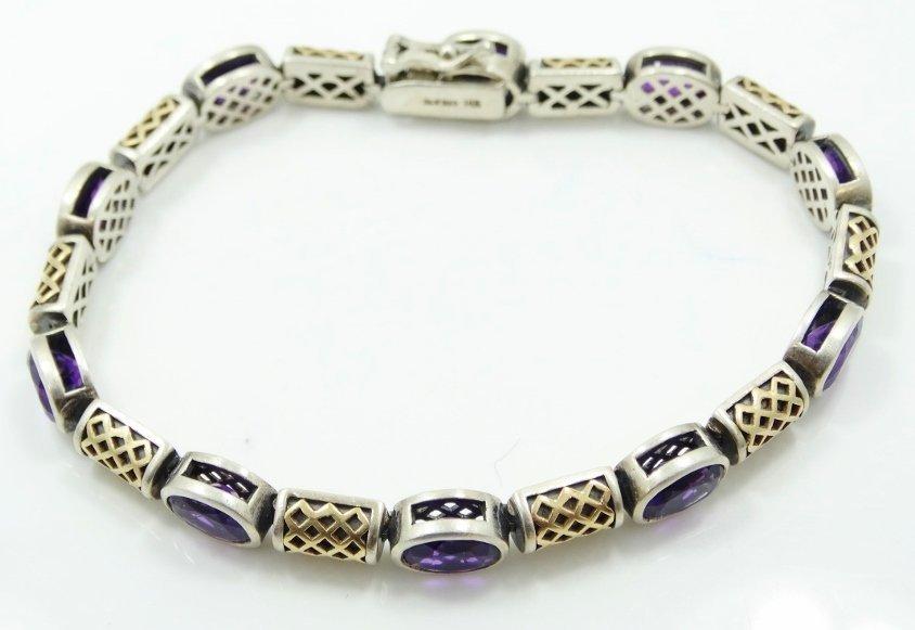 11.25ctw Amethyst 14K/Sterling SLV Bracelet - 2