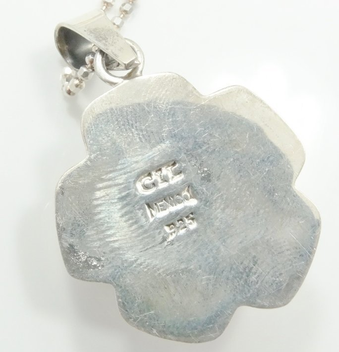 .925 Silver High-Relief Pendant on Popcorn Chain - 5