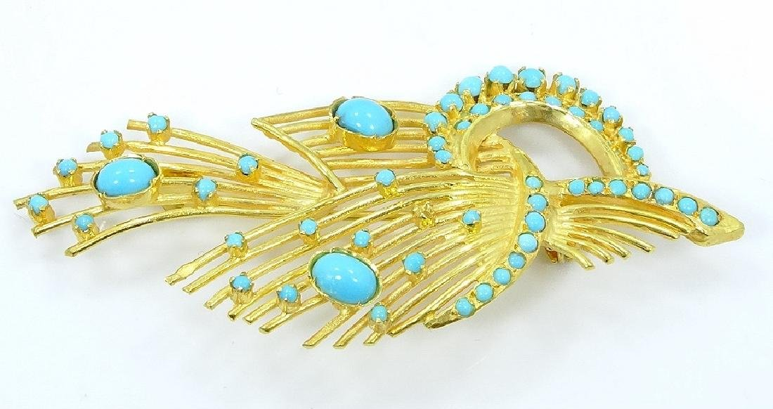 Sleeping Beauty Turquoise & 18K Brooch
