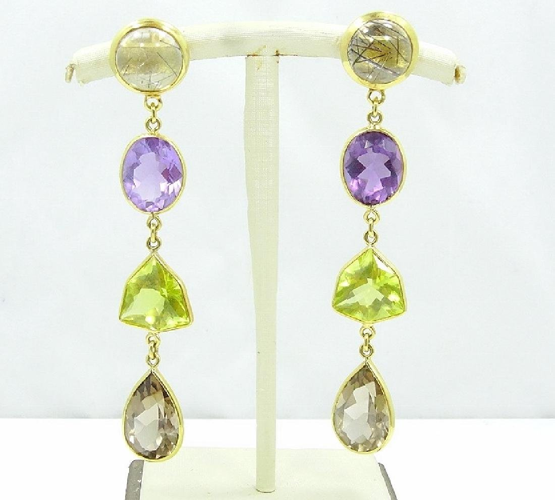Ivo Balestra 50ctw Gemstone & 18K Earrings