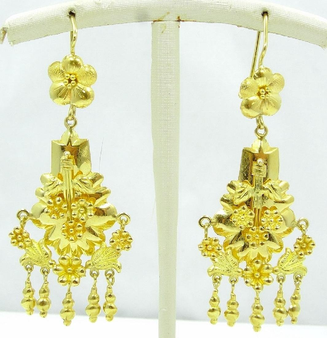 "21K 2.5"" Earrings Draped W/Floral Motif & Tassles"