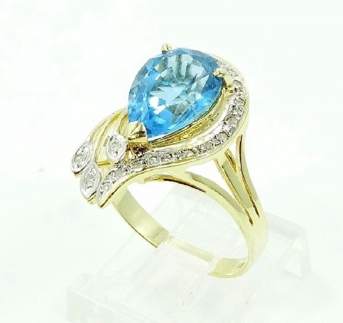 2.50ct Blue Topaz & 14K Ring W/Diamond Accents