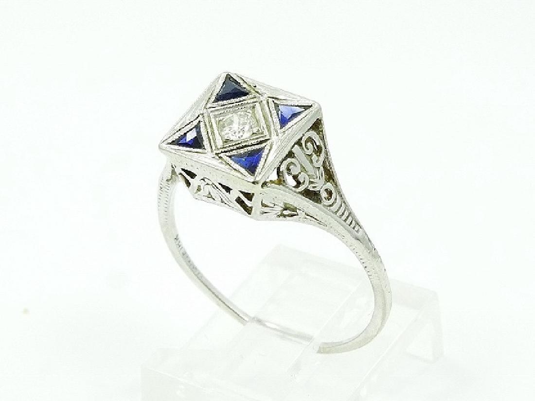 Art Deco Mined Diamond, Blue Sapphire & 18K Ring