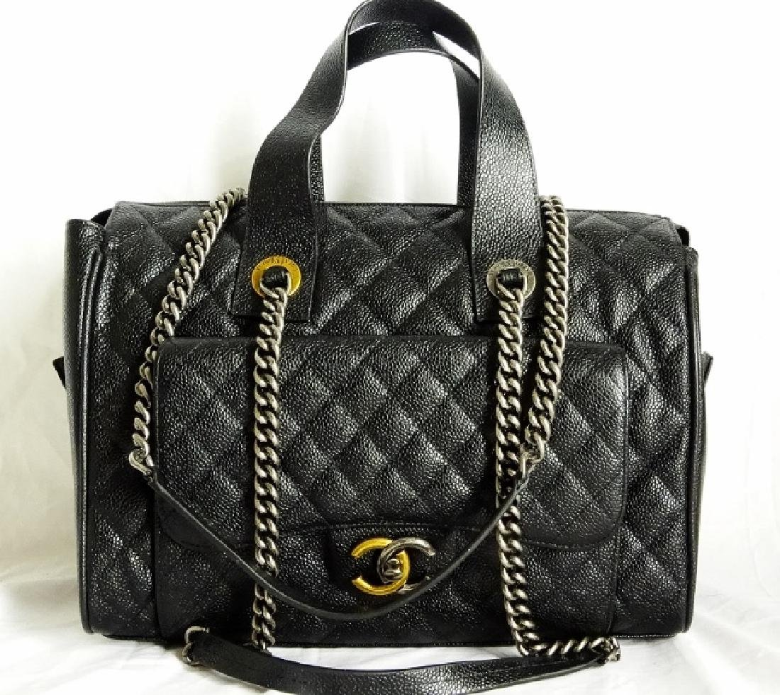 Chanel Black Quilted Caviar Leather Bowling Bag