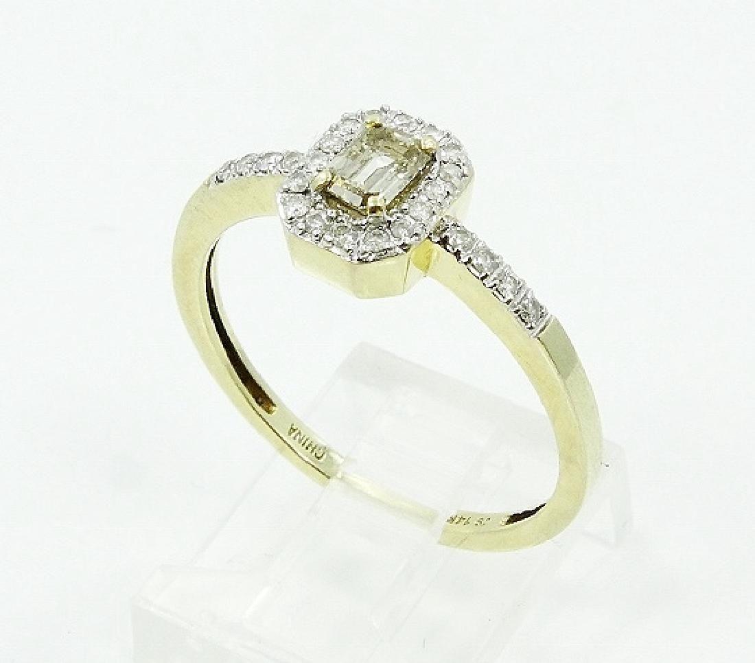 14K YG 0.30ct SI1-SI2 Cognac Diamond in Halo Setting