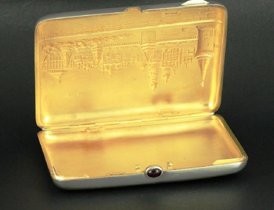 20th C.Russian Silver & Gilt Gold Cigarette Case