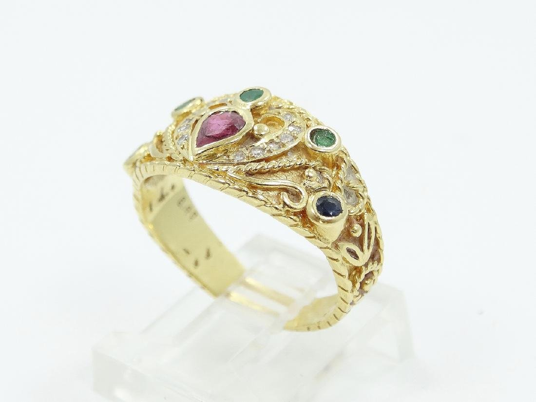 Ilias Lalaounis 18K Ring W/Emeralds, Diamonds