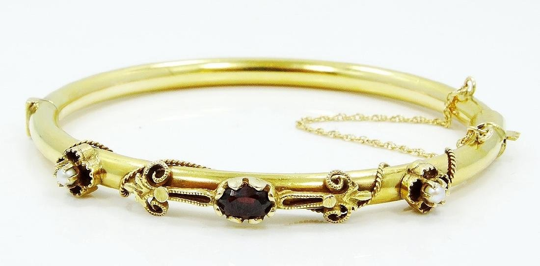 1940's 14K YG Bangle W/Garnet & Seed Pearls