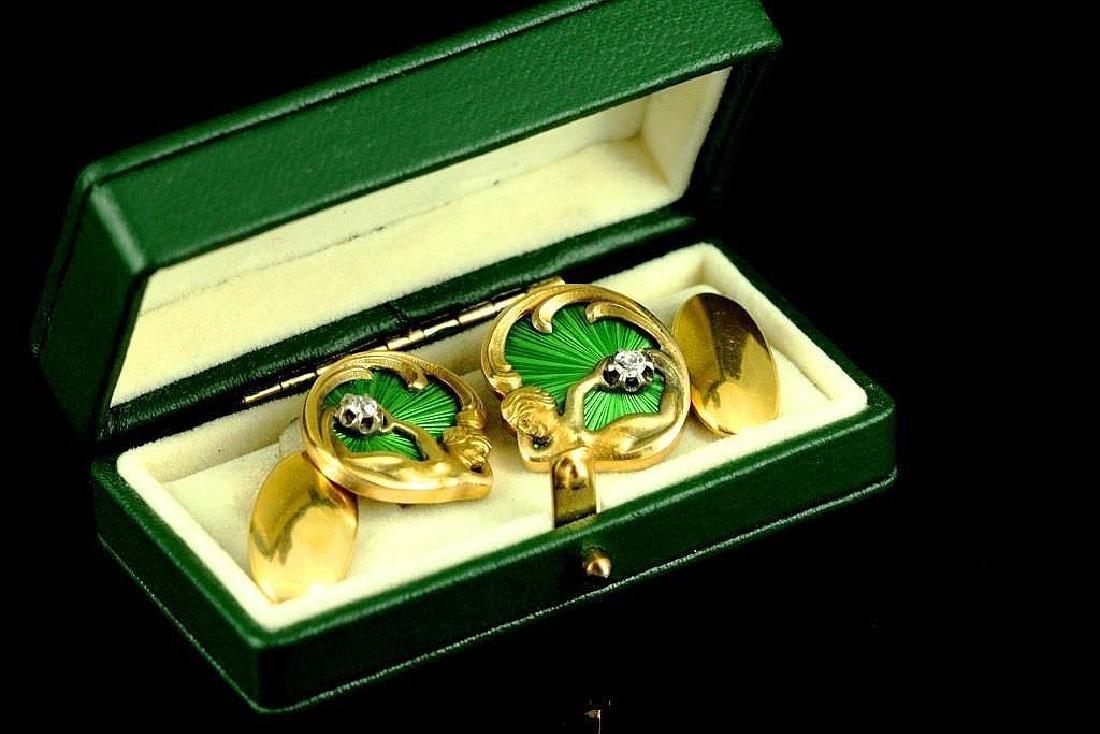 Imperial Rusalki 56 Gold,Enamel,Diamond Cufflinks