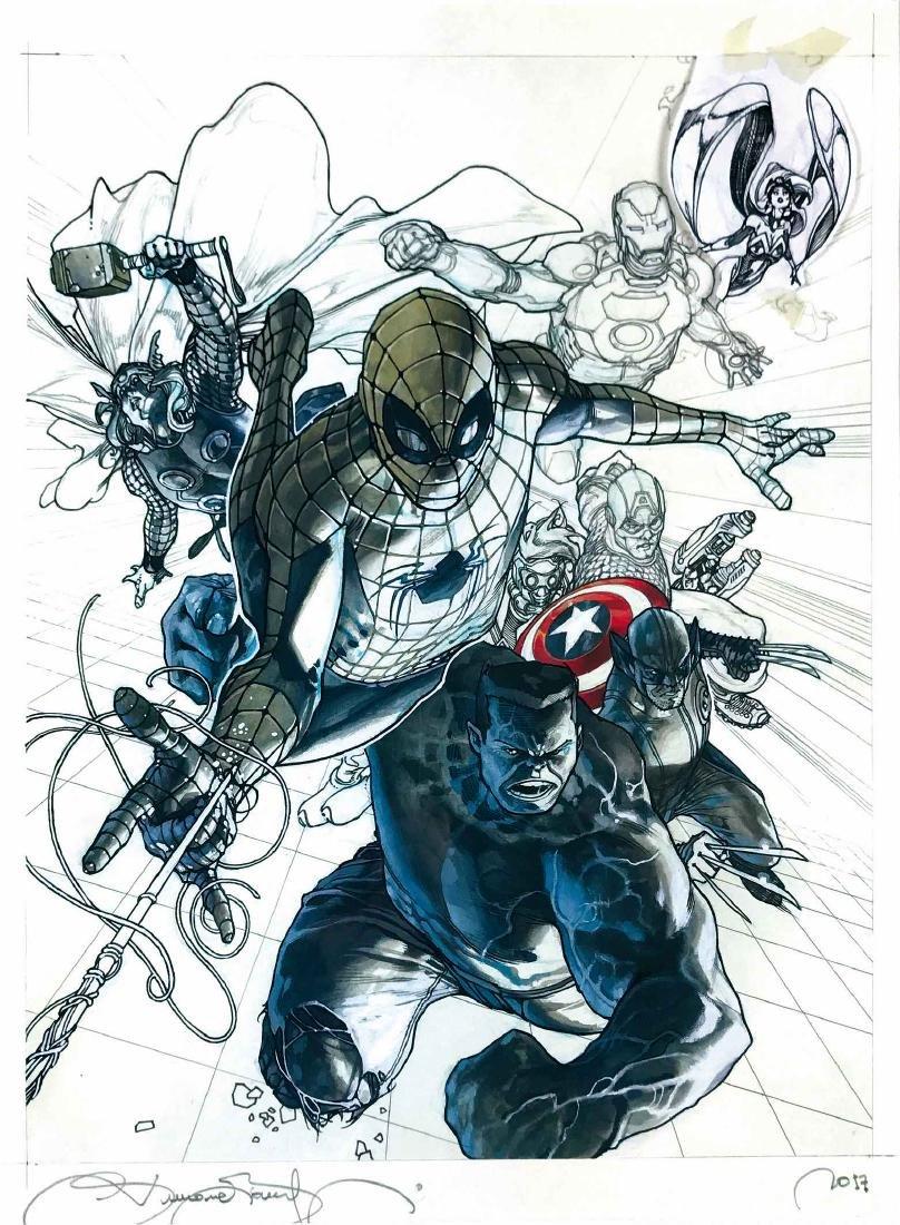 BIANCHI  -  Marvel Superheroes. Preliminary cover art