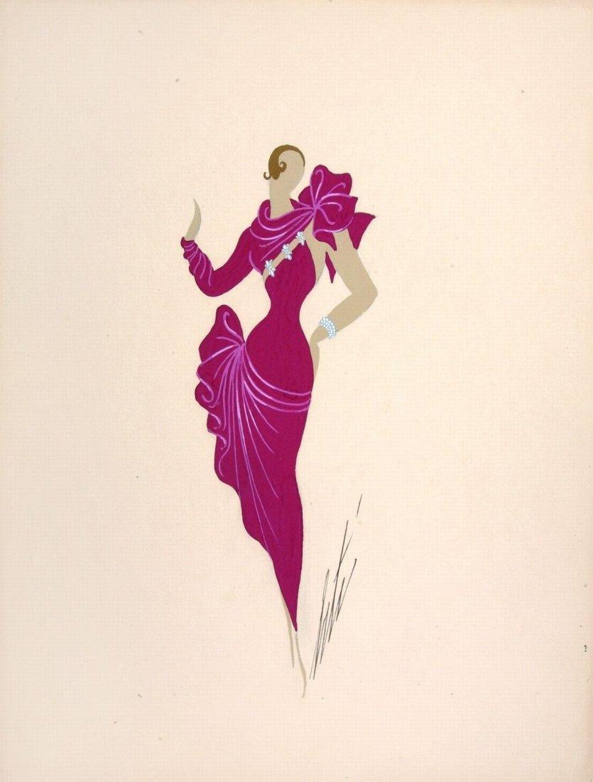 Erté (Romain De Tirtoff)  - Coppia di figurini di moda