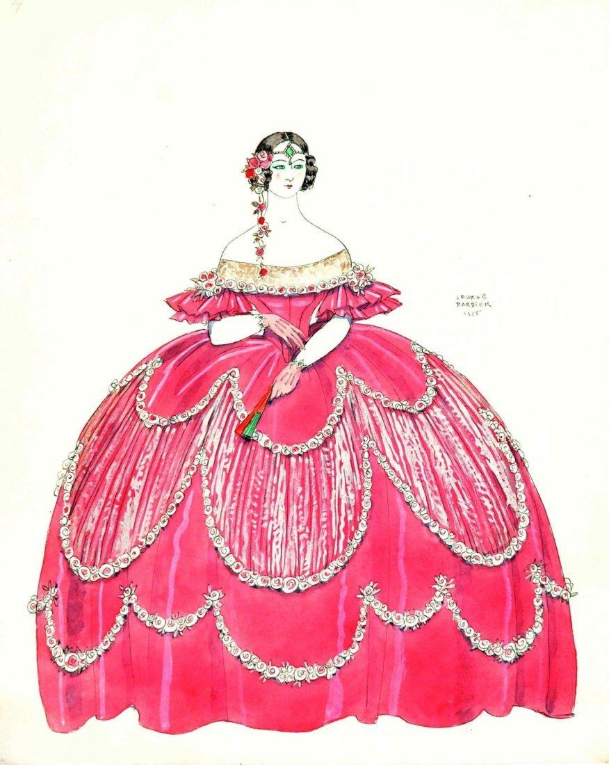 George Barbier  - La robe rose - Illustrazione di moda