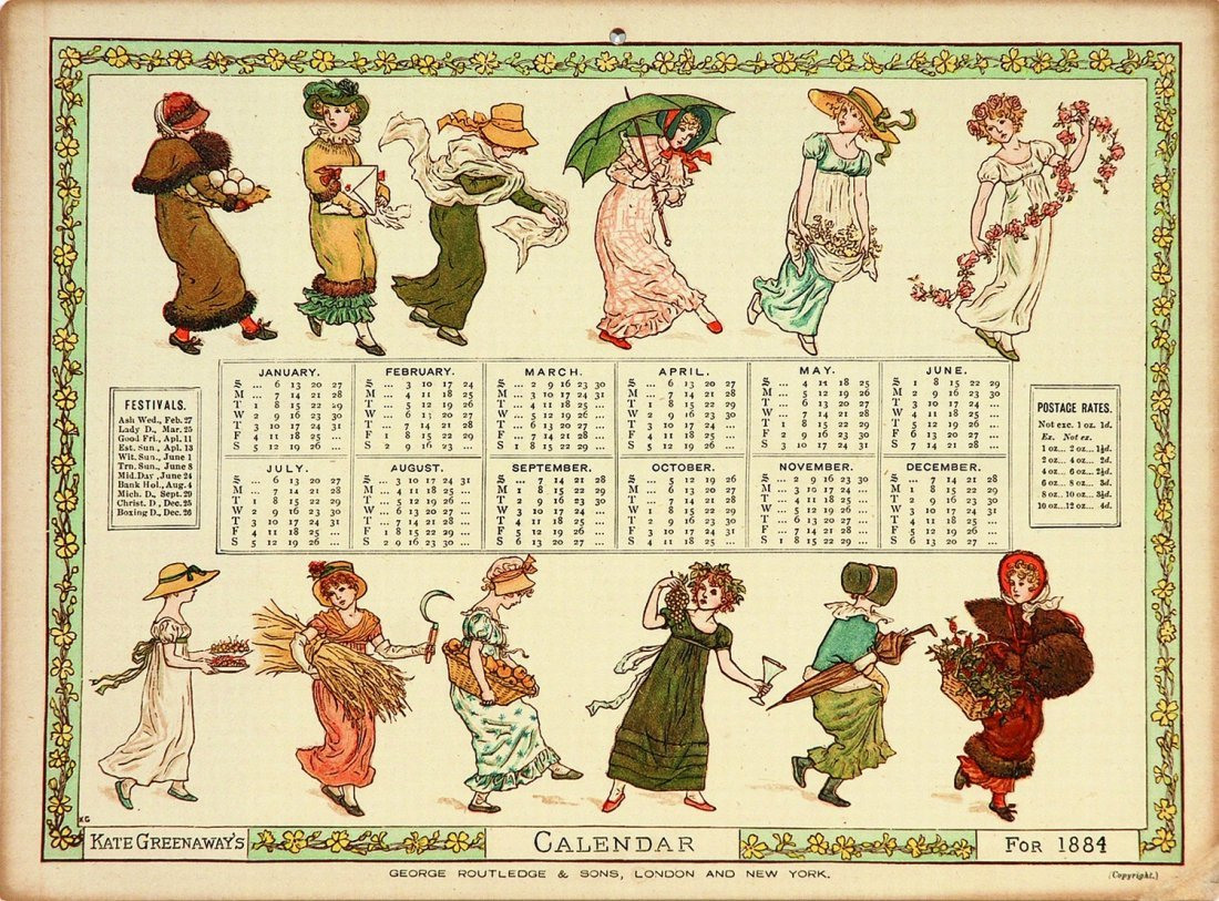 Kate Greenaway Calendar for 1884 by Kate Greenaway