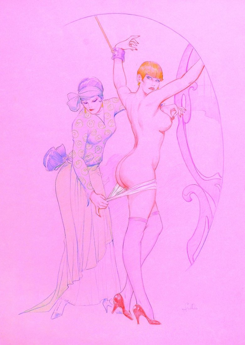 LEONE FROLLO  Grande illustrazione su carta rosa