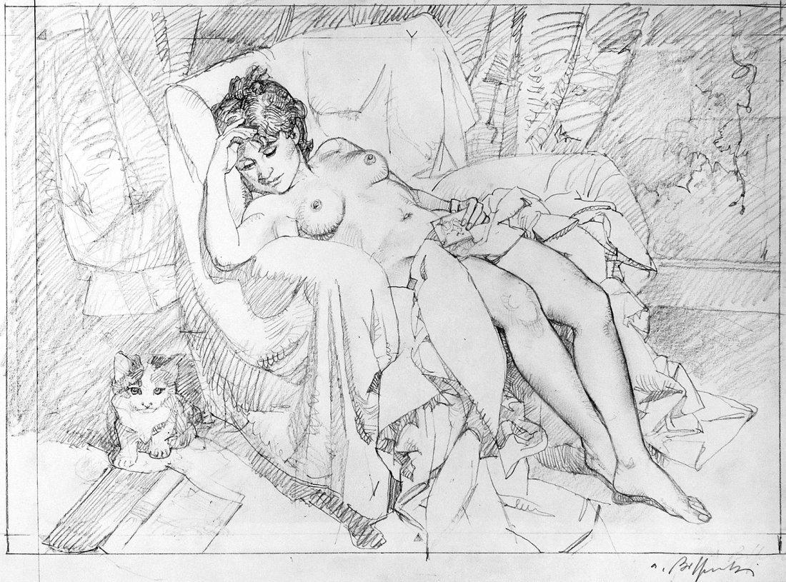 Alessandro Biffignandi Nudo con Gatto