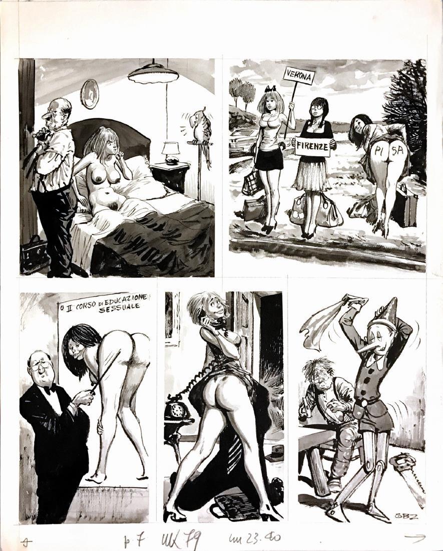 Guido Buzzelli Tavola con vignette umoristiche per