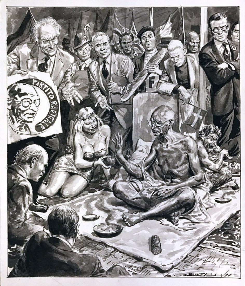 Dino Buzzelli: illustrazione con Cicciolina, Gandhi,