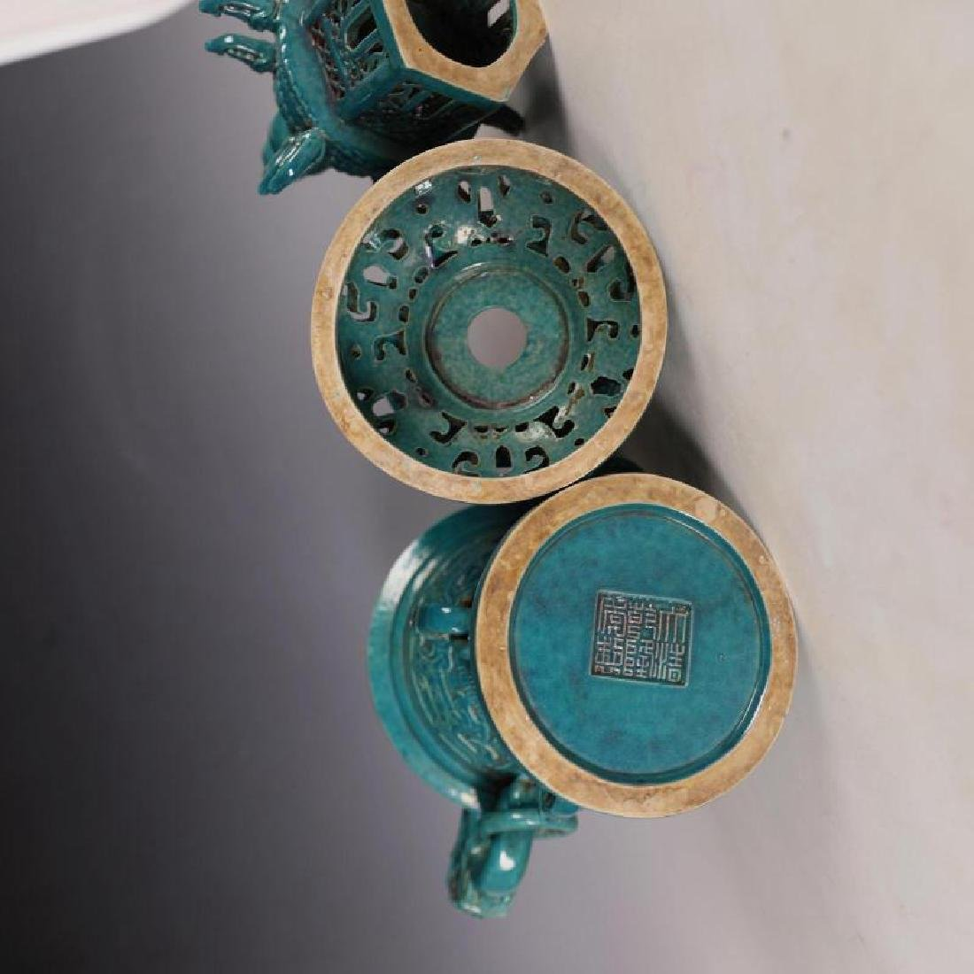 A Big Peacock Green Glaze Aroma Stove - 7