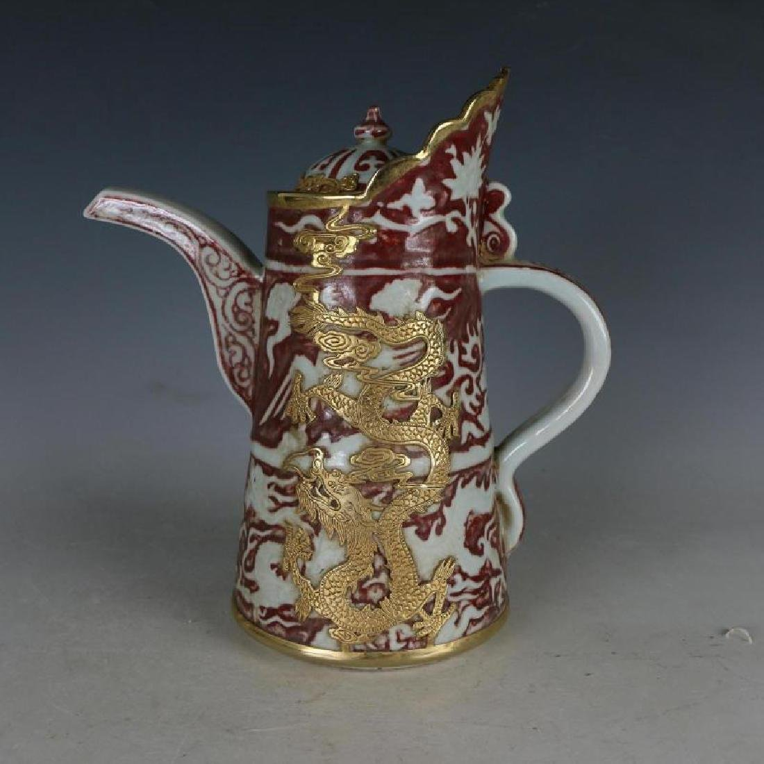 a Nice Inlaid Gold Underglaze Red Handle Kettle